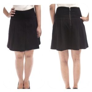 Zara Black Stretch Knit Pleated Skater Skirt